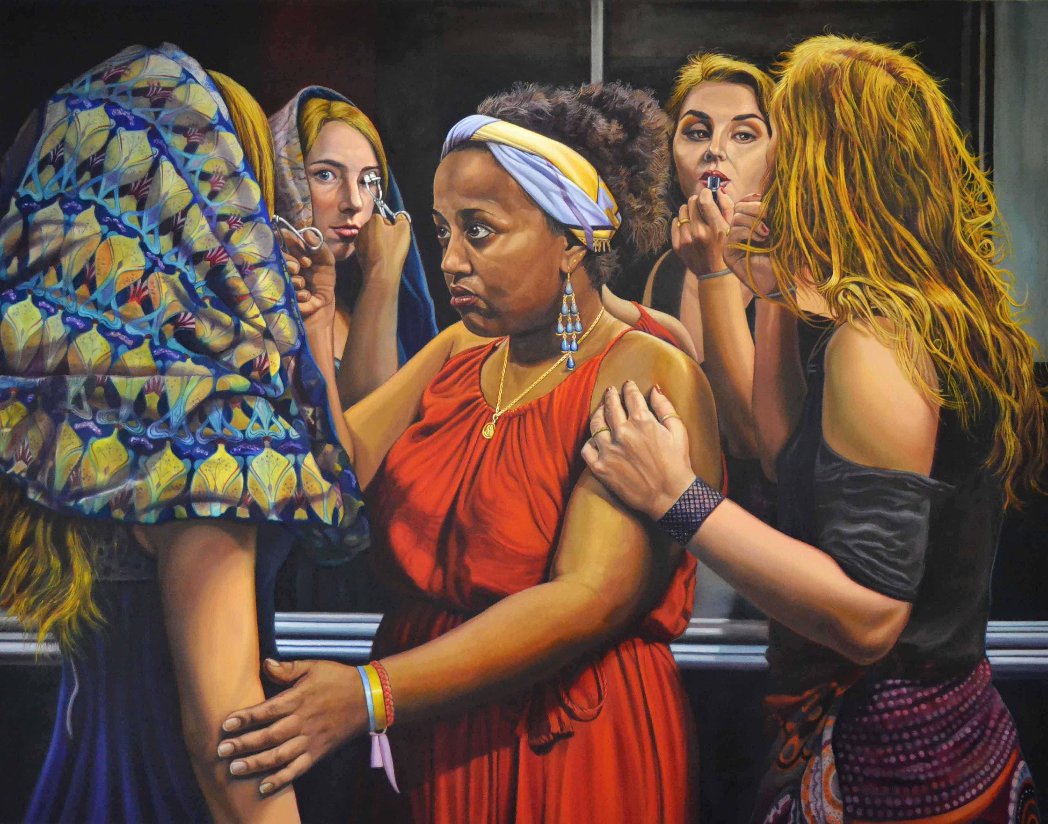 Girls at the mirror, 2014, Tuval üzerine yağlıboya, 180x230 cm